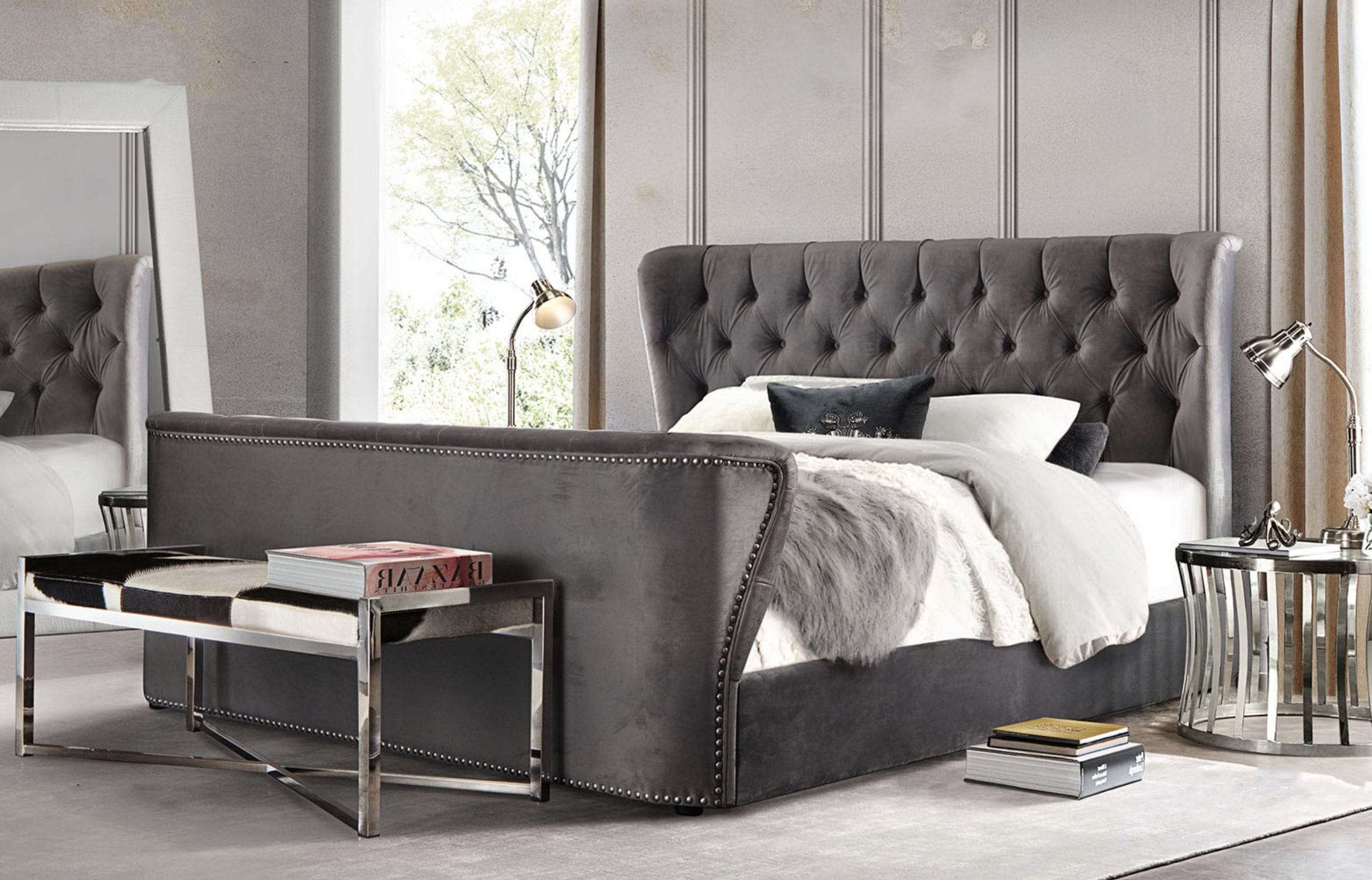 56 Grey Fabric 92 Queen Bed Exclusive At Hunters Furniture,Lighting Ideas Over Dining Room Table