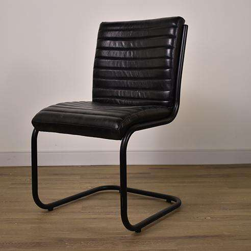 BURNABY Black Leather - Chair-furniture stores regina-Hunters Furniture