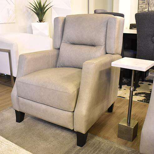 "5TH AVE Leather Push Back Recliner Chair in Black (100) Ford Grey 33""-furniture stores regina-Hunters Furniture"
