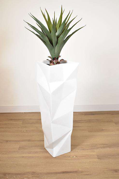 WHITE FIBER TEXTURED POT 18 x 18 x 60 potted with YUCCA PLANT 20 x 20 x 27.5-furniture stores regina-Hunters Furniture