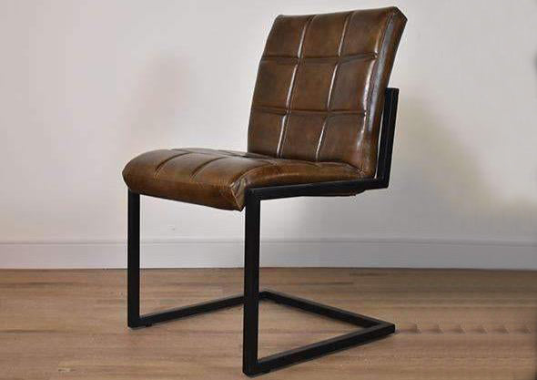 "BURNABY Brown Leather   -   20"" Dining Chair (Set of 4)"