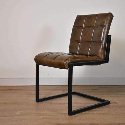 "BURNABY Brown Leather - 20"" Dining Chair-furniture stores regina-Hunters Furniture"