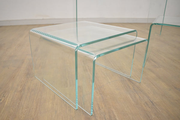(Item Discontinued) VALLEY Clear Glass Nesting Tables  20x18x13   -  FINAL SALE
