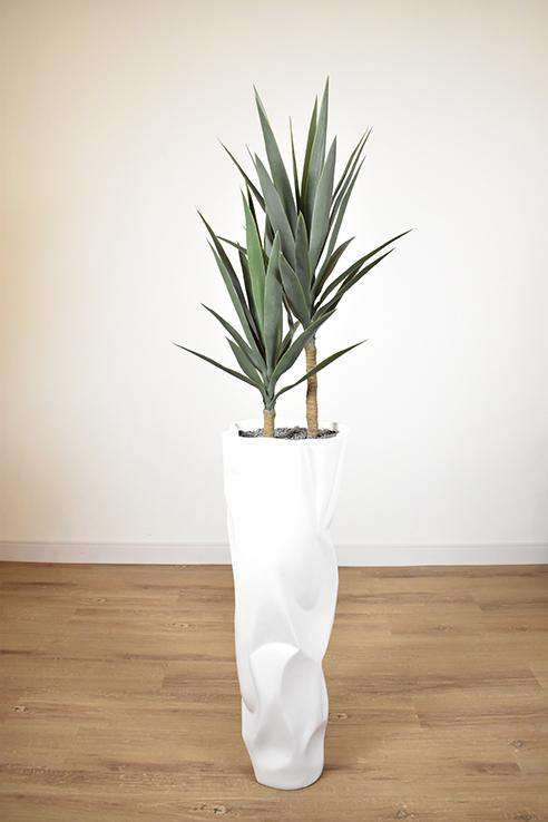 WHITE FIBER TEXTURED POT 12 x 12 x 36 potted with YUCCA PLANT 21 x 21 x 43.5-furniture stores regina-Hunters Furniture