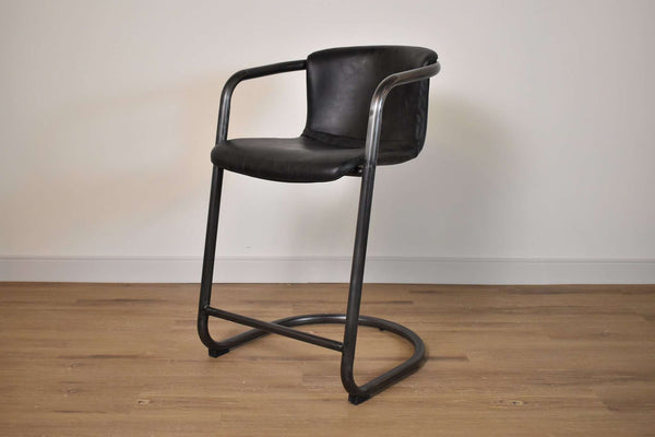 "BERLIN Black Leather - 35"" Counter Stool-furniture stores regina-Hunters Furniture"