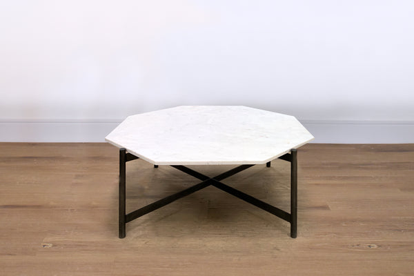 "WHITE MARBLE TOP - 39.75"" Coffee Table"
