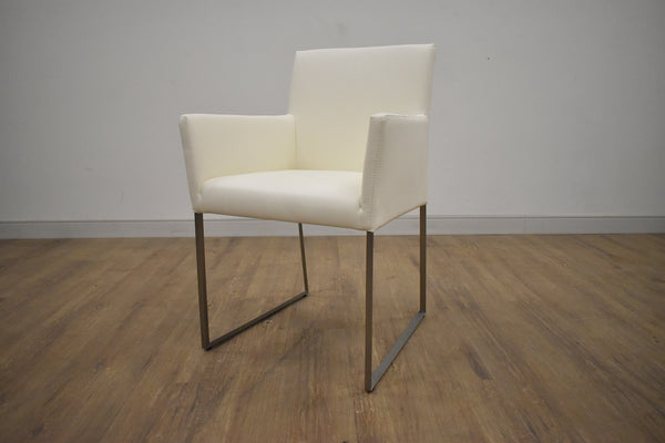 "ANNEX White Vegan Leather - 31"" Dining Arm Chair-furniture stores regina-Hunters Furniture"