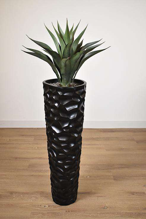 BLACK FIBER TEXTURED POT 12 x 12 x 36 potted with ARTIFICIAL GREEN AGAVE 22 x 22 x 24-furniture stores regina-Hunters Furniture
