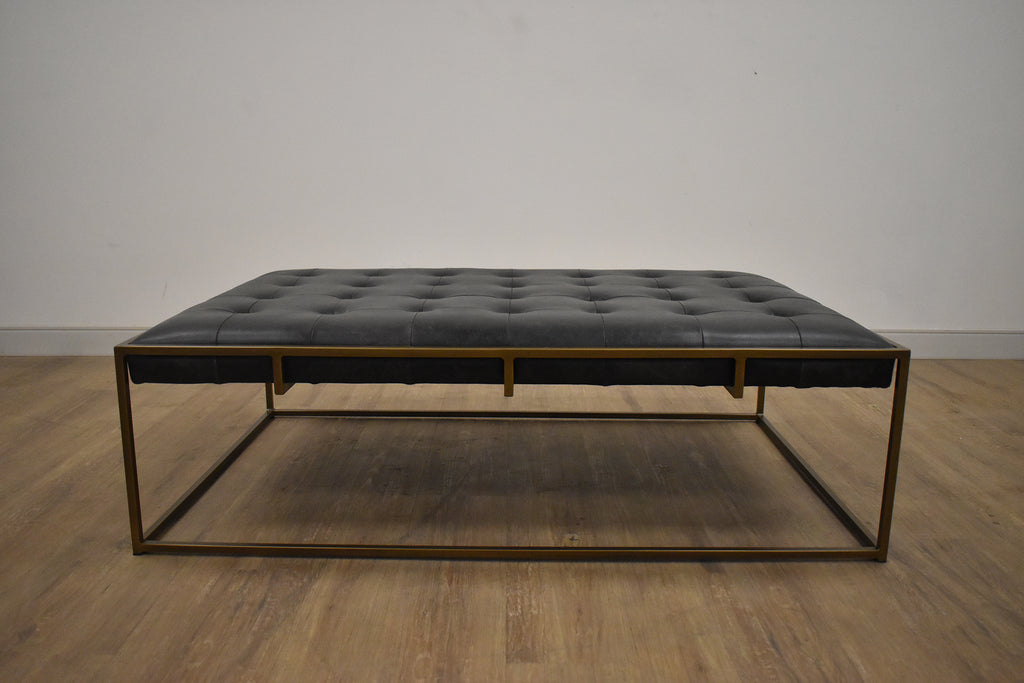 "DALLAS Black Leather - 63"" Coffee Table-furniture stores regina-Hunters Furniture"