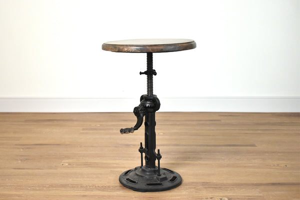 (Item Discontinued)  INDUSTRIAL CRANK STOOL W CASTE IRON BASE & MANGOTOP DIAM*14*H17-25    -     FINAL SALE!