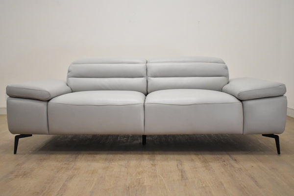 "SYDNEY Silver Leather - 82"" Sofa-furniture stores regina-Hunters Furniture"