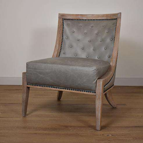 PLYMOUTH Light Grey Leather - Chair-furniture stores regina-Hunters Furniture