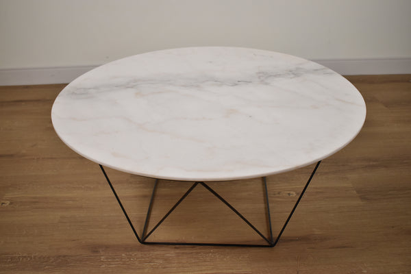 "MILAN White Marble - 33.5"" Coffee Table-furniture stores regina-Hunters Furniture"