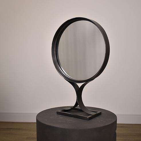 "BROOKS Black Metal - 18"" Mirror-furniture stores regina-Hunters Furniture"