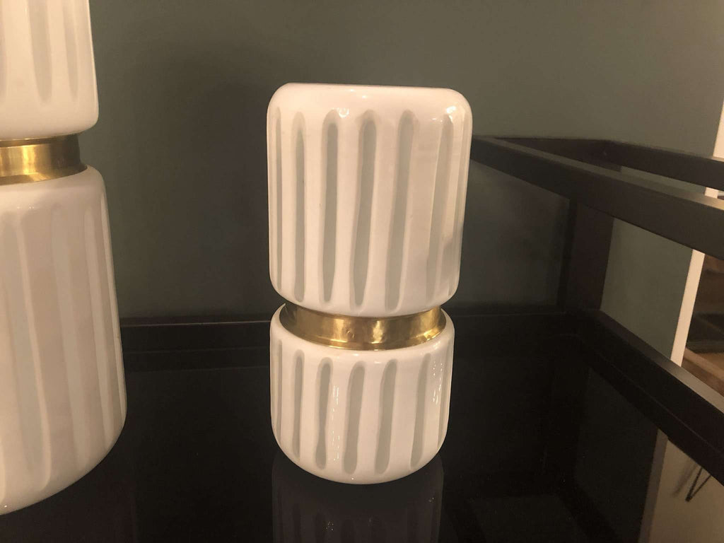 "White and Brass Finish on Glass - 9.5"" Vase-furniture stores regina-Hunters Furniture"