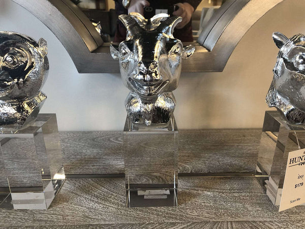 GOAT BUST SCULPTURE | Chrome Finish on Resin Statue with Crystal Stand-furniture stores regina-Hunters Furniture