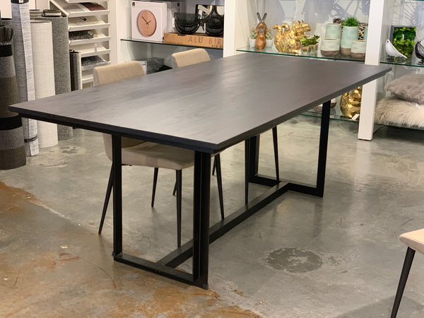 "YORK Dark Grey Brown Rectangular Solid Wood - 80"" Dining Table-furniture stores regina-Hunters Furniture"