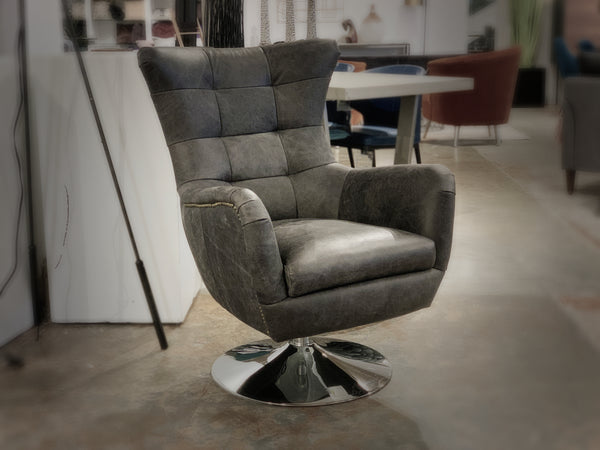 "MOUNT ROYAL Brown Leather - 37"" Chair-furniture stores regina-Hunters Furniture"