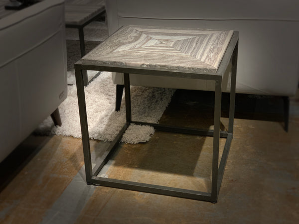 "TRIBECA II Grey Marble - 20"" Side Table-furniture stores regina-Hunters Furniture"