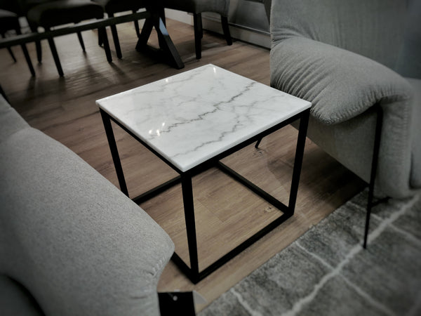 "VENICE White Marble - 20"" Side Table-furniture stores regina-Hunters Furniture"