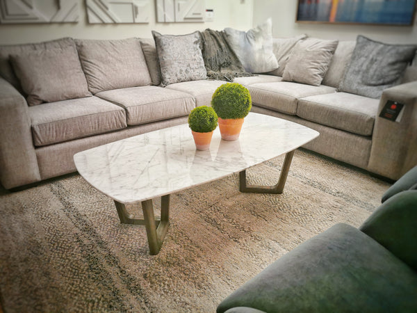 "HIGHLAND PARK White Marble - 51"" Coffee Table-furniture stores regina-Hunters Furniture"