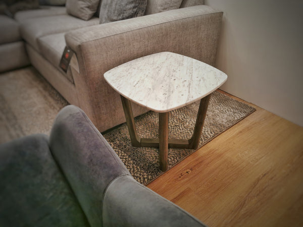 "HIGHLAND PARK White Marble - 19"" Side Table-furniture stores regina-Hunters Furniture"
