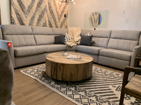 "ATLANTA 4 PC Sectional in Espresso (43) Duncan Grey 116"" x 117"" LHF Toss in Dwell Multi No Welt"