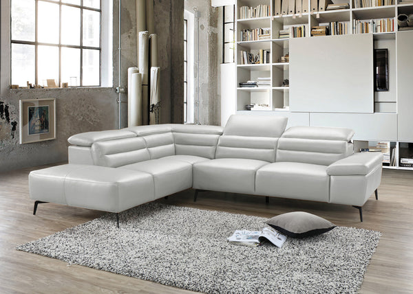 "SYDNEY Silver Leather - 70"" Sectional-furniture stores regina-Hunters Furniture"