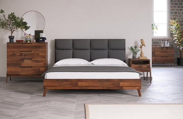 "NORTH DELTA Grey Fabric   -   63"" Queen Bed"