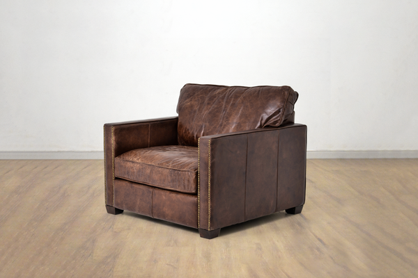 ASPEN Brown Distressed Leather - Oversized Chair
