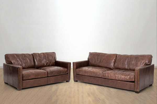 "ASPEN Brown Distressed Leather - 88"" Sofa ($4459) & 72"" Loveseat ($3119) Combo"