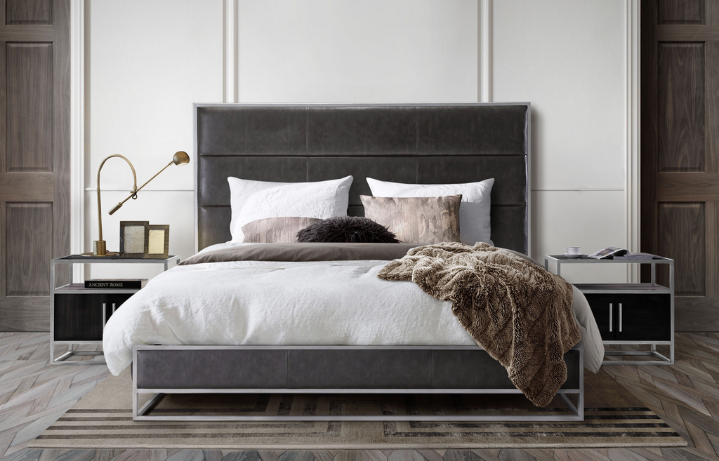 "SOHO Grey Vegan Leather   -   80"" Eastern King Bed (2 Available)"