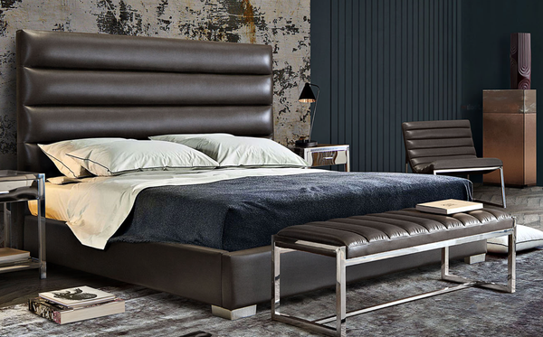 LOUIS Channel Tufted Queen Bed in Elephant Grey Leatherette 66 x 91 x 58