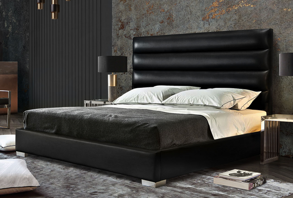LOUIS Channel Tufted Queen Bed in Black Leatherette 66 x 91 x 58