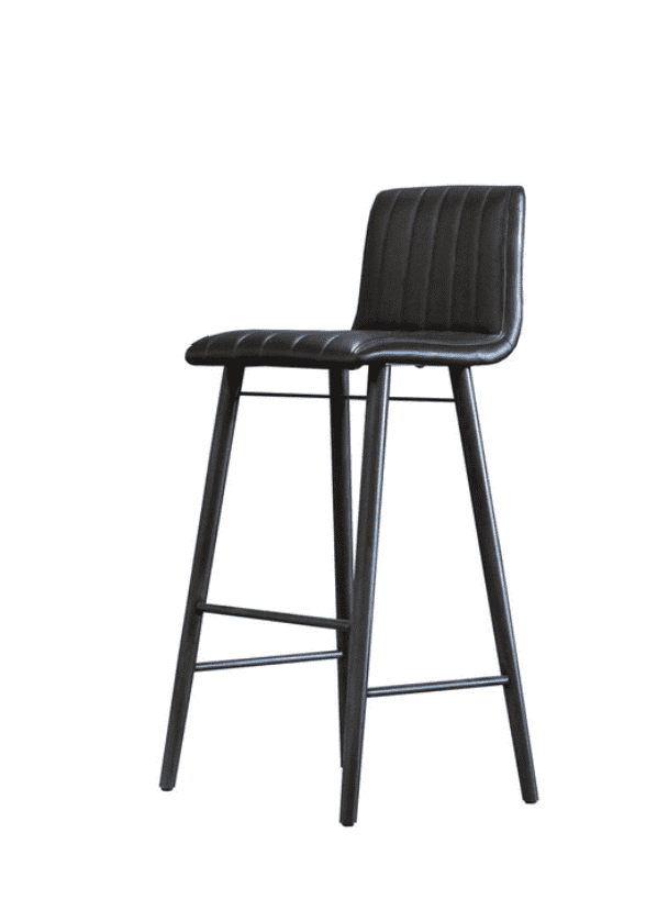 "LETHBRIDGE Black Leather - 40"" Bar Stool-furniture stores regina-Hunters Furniture"