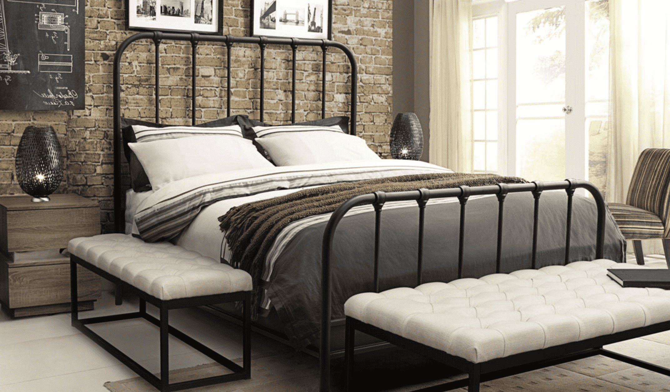 Gastown Rust Brown Metal 64 Queen Bed Exclusive At Hunters,Lighting Ideas Over Dining Room Table