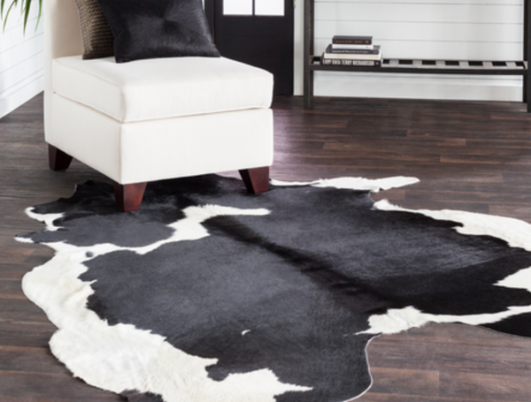 522 Hair on Hide, Dark Brown & Cream Leather - 5x5 Rug-furniture stores regina-Hunters Furniture