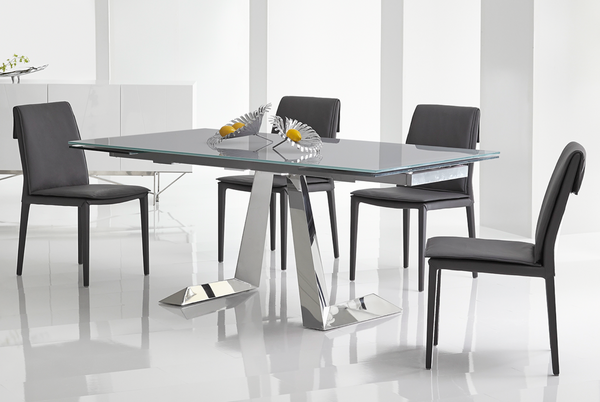 "N221 Glass Top & Metal Base - 71-102"" Dining Table 71-102"" L x 39"" W x 30"" H-furniture stores regina-Hunters Furniture"