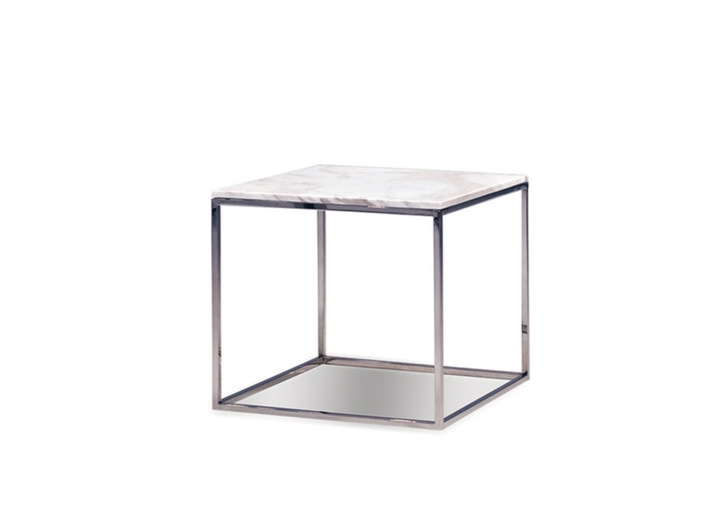 "633 White Marble - 21"" Side Table-furniture stores regina-Hunters Furniture"