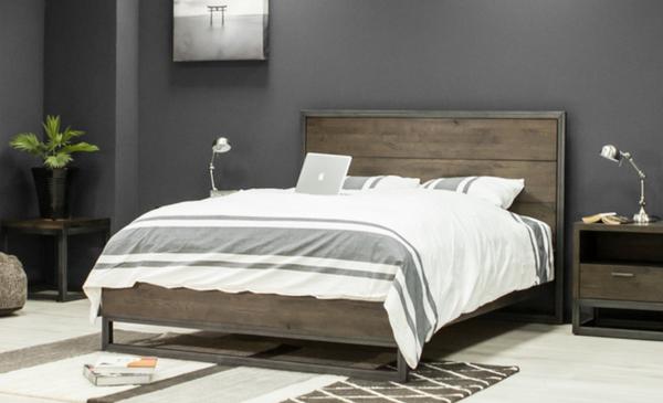 TORONTO Espresso Brown White Oak - Queen Bed-furniture stores regina-Hunters Furniture
