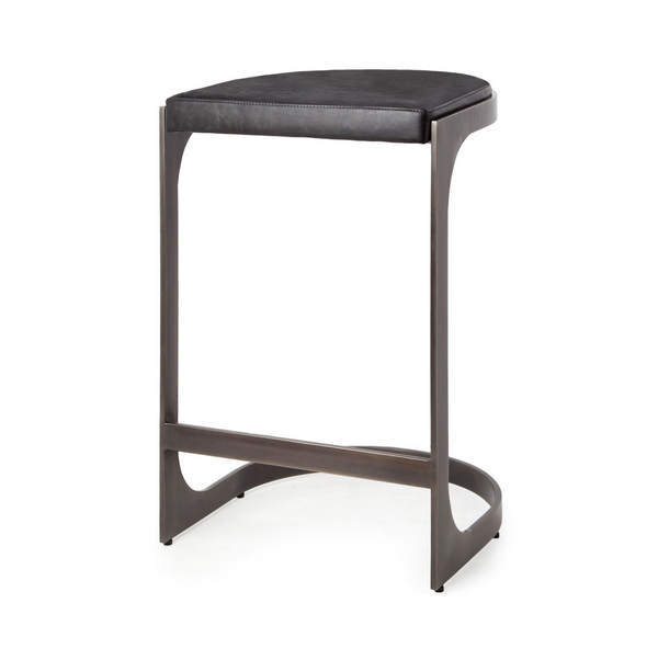 "REDMOND Black Leather - 30"" Bar Stool-furniture stores regina-Hunters Furniture"