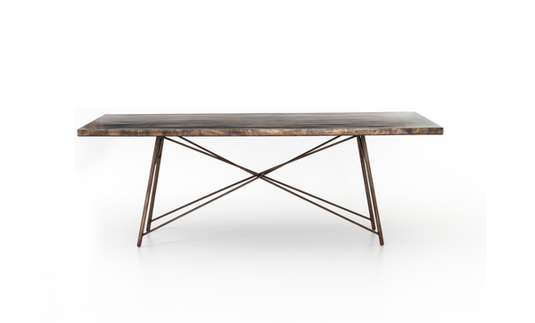 "TRIBECA Oxidized Iron Metal - 84"" Dining Table-furniture stores regina-Hunters Furniture"
