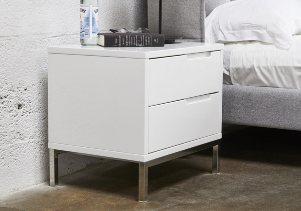 "MANHATTAN White Wood - 24"" Night Stand-furniture stores regina-Hunters Furniture"