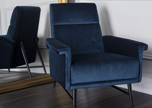 "BEL AIR Dark Blue Fabric - 34.3"" Chair-furniture stores regina-Hunters Furniture"