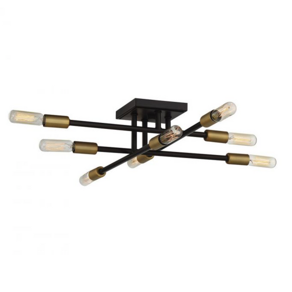 Lyrique 8 Light Semi Flush Bronze w/ Brass Accents-furniture stores regina-Hunters Furniture