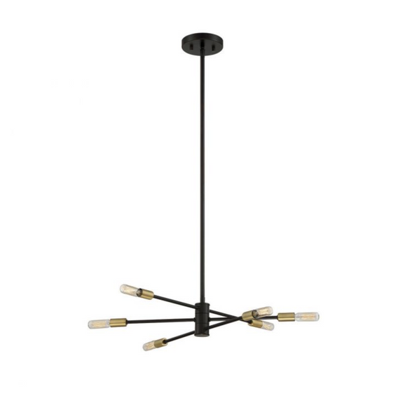 Lyrique 6 Light Chandelier Bronze w/ Brass Accents-furniture stores regina-Hunters Furniture