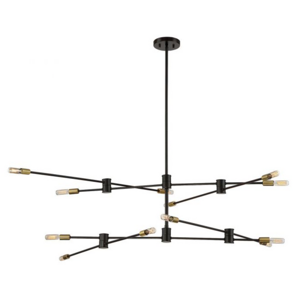 Lyrique 12 Light Chandelier Bronze w/ Brass Accents-furniture stores regina-Hunters Furniture