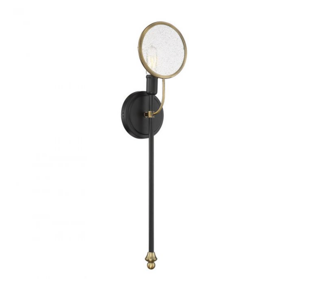 Oberyn 1 Light Sconce Vintage Black w/ Warm Brass-furniture stores regina-Hunters Furniture