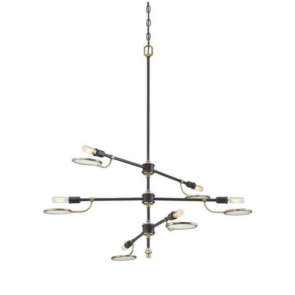 (Item Discontinued) Oberyn 6 Light Chandelier Vintage Black w/ Warm Brass-furniture stores regina-Hunters Furniture