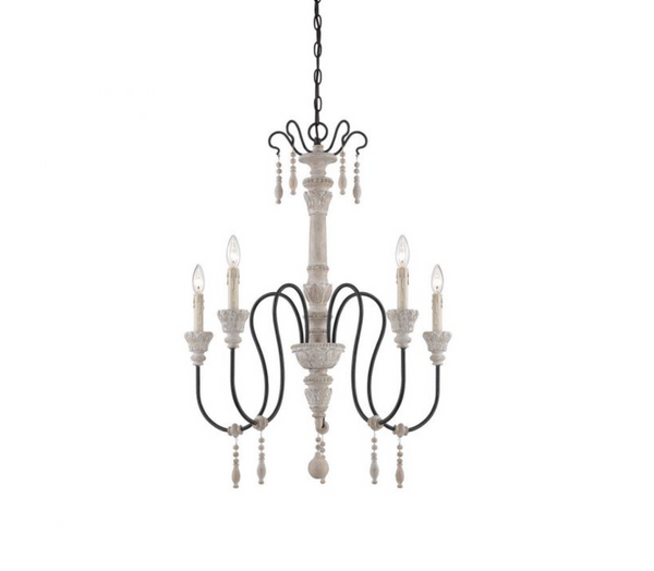 Ashland 5 Light Chandelier White Washed Driftwood-furniture stores regina-Hunters Furniture